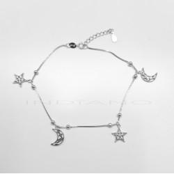 Tobillera Plata Estrella y Luna CirconitasP025100345