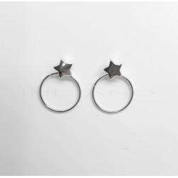 Pendientes Plata Estrella y CírculoP025100358