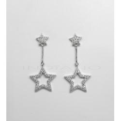 Pendientes Plata Largos Estrellas CirconitasP025100376