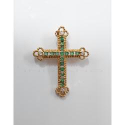Colgante Oro Cruz EsmeraldasP023000949