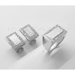 Juego Oro Blanco Rectangular Matizado CirconitasP023000018