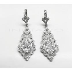 Pendientes Oro Blanco Tipo Cordobes CirconitasP002301697