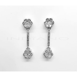 Pendientes Oro Blanco Brillantes Largos Doble FlorP011800045