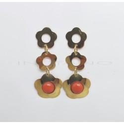 Pendientes Oro Largos Flores CoralP002800633