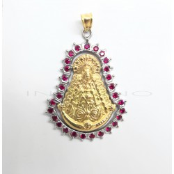 Medalla Oro Silueta Virgen del Rocío RubiesP005505555