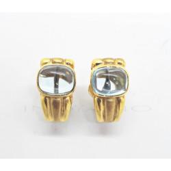 Pendientes Oro Mate y Brillo Piedra AzulP002300141