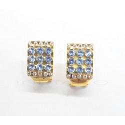 Pendientes Oro Cuadrado Circonitas Blancas y AzulesP002301309