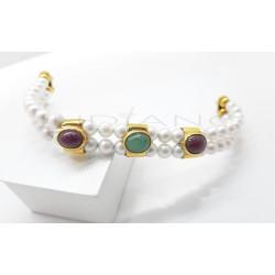 Pulsera Oro Semirígida Perlas Rubies y EsmeraldaP005501477