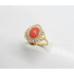Sortija Oro Ovalada Coral y CirconitasP023000781