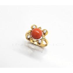 Sortija Oro Motivo Cuadrado Coral y CirconitasP023000574