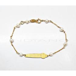 Esclava Oro Chapa Reloj Perlitas0020500020