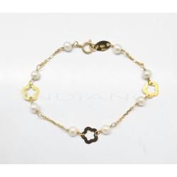 Pulsera Oro Flores y Perlas0020500025