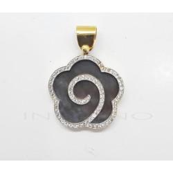 Colgante Oro Flor Nácar Negro CirconitasP002800816
