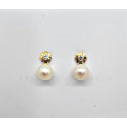 Pendientes Oro Flor y PerlaP022500286