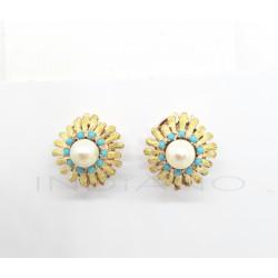 Pendientes Oro Perla Y TurquesasP005503228