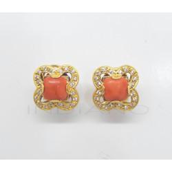 Pendientes Oro Flor Coral y CirconitasP005700051