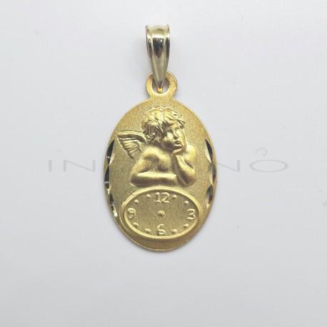Medalla Oro Ovalada Reloj Angelito