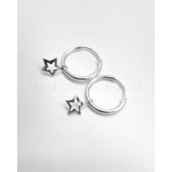 Pendientes Plata Aros con Estrellas CaladasP025100683