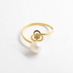 Sortija Oro Motivo Flor y PerlaP022500300