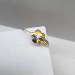 Sortija Oro Bicolor Flor CirconitaP022500430