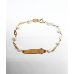 Esclava Oro Chapa Reloj Cadena Perlas0020500023