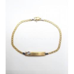 Esclava Oro Bicolor Chapa Circonita Cadena BismarkP009600101