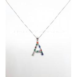 Collar Plata Letra A Circonitas ColoresP026200354