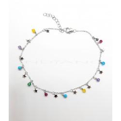Tobillera Plata Estrellas y Circonitas de ColoresP026600001