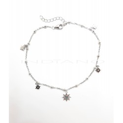Tobillera Plata Soles y Estrella PolarP026600002