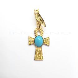 Cruz de la Vida Oro Centro TurquesaP023001361