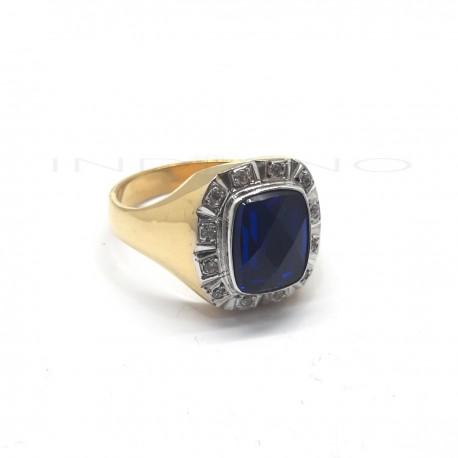 Sello Oro Bicolor Piedra Azul Lapidada