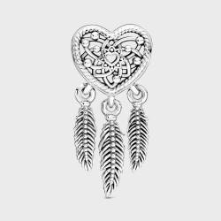 Charm Pandora Atrapasueños Corazón en filigrana y Plumas799107C00