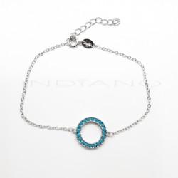 Pulsera Plata Círculo Azul KarmaP025100715