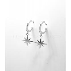 Pendientes Plata Aros con Estrella FugazP025100801