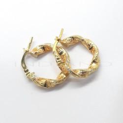 Pendientes Oro Aros Retorcidos Dibujo Granulado PequeñoP022400085
