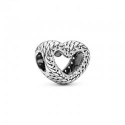 Charm en plata de ley Corazón en filigrana Cadena de Serpiente799100C01