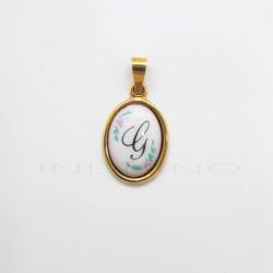 Colgante Oro Ovalado Porcelana Letra GP011001033