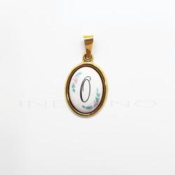 Colgante Oro Ovalado Porcelana Letra OP011001034