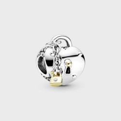 Charm Pandora Shine Corazón y Candado en dos tonos799160C01