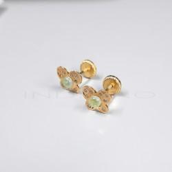 Pendientes Oro Mariposa Verde