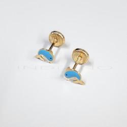 Pendientes Oro Delfines Azules