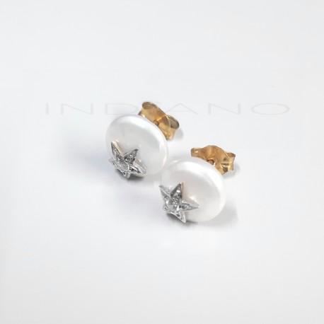 Pendientes Oro Blanco Perla y Estrella