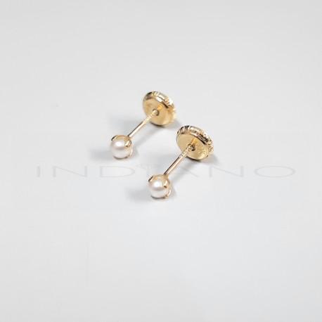 Pendientes Oro Niña Perlas