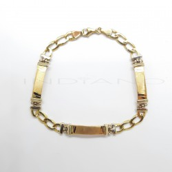 Esclava Oro Bicolor Tres Chapas Cadena BilbainaP023001410