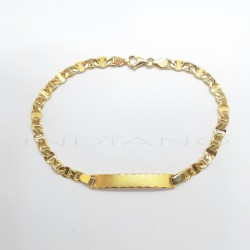 Esclava Oro Chapa Rectangular Cadena Hueca Tipo BarbadaP022400110