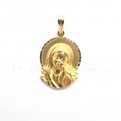 Medalla Oro Silueta y Aura Virgen Niña CirconitaP002200665