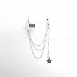 Pendientes Plata Largos Cadenas + Earcuff Motivo EstrellaP024700918