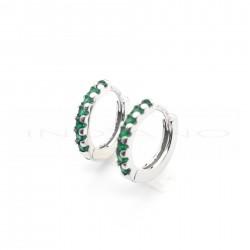 Pendientes Plata Aros Circonitas VerdesP002304981