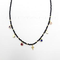 Gargantilla Plata Dorada Circonitas Negras Motivos Multi ColoresP026600235