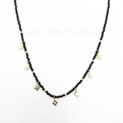 Gargantilla Plata Dorada Cirocnitas Negras Motivo EstrellasP026600236